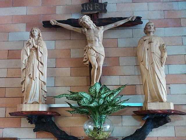 Cây thủy sinh thay thế cắm hoa bàn thờ Chúa