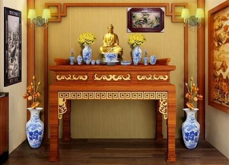 cách bài trí bàn thờ phật, cách bố trí bàn thờ phật cách trang trí bàn thờ phật