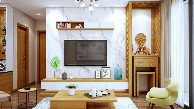 Bàn thờ kết hợp tủ tivi tiết kiệm không gian