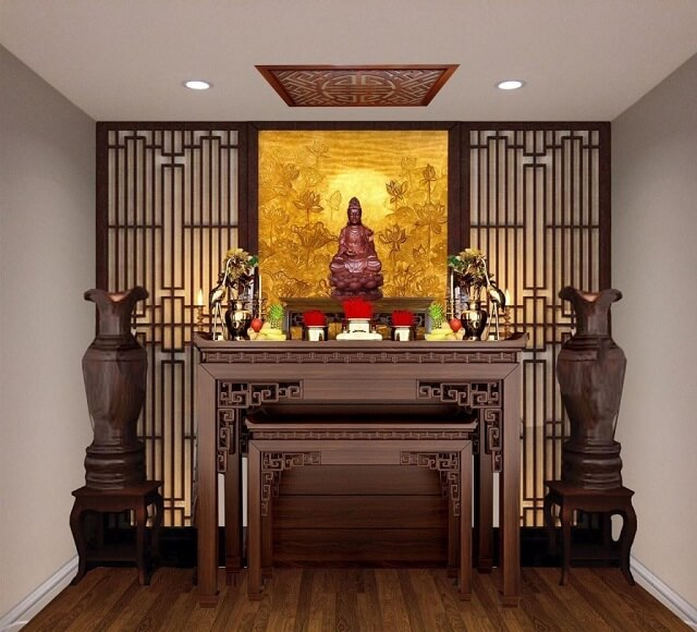 Bàn thờ Phật bằng gỗ đẹp tại cửa hàng Bàn thờ gỗ