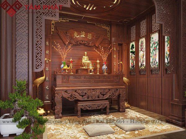Mẫu sập thờ gỗ sang trọng thiết kế cho phòng thờ riêng.