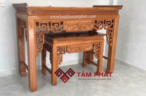Mẫu bàn thờ gỗ đẹp BTG1025 được chạm khắc tinh xảo.