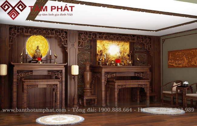 Bàn thờ gia tiên kết hợp bàn thờ Phật mẫu BTG1059