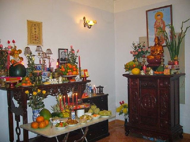 Cách thờ cúng bàn thờ Phật chung với gia tiên