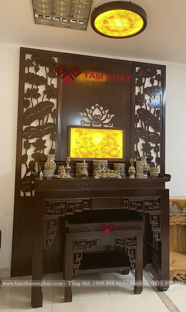 Mẫu bàn thờ 2 cấp thờ Phật và gia tiên mẫu BTG1051