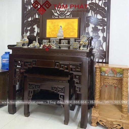 Bàn thờ 2 cấp thờ Phật và gia tiên mẫu BTG1051
