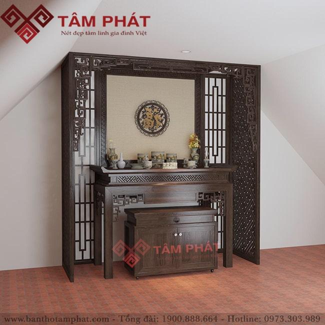 Mẫu bàn thờ đứng gia tiên kết hợp bàn thờ thần tài mẫu BTG1083