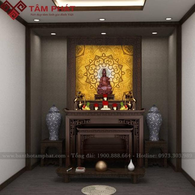 Mẫu bàn thờ gia tiên kết hợp bàn thờ Phật BTG1059