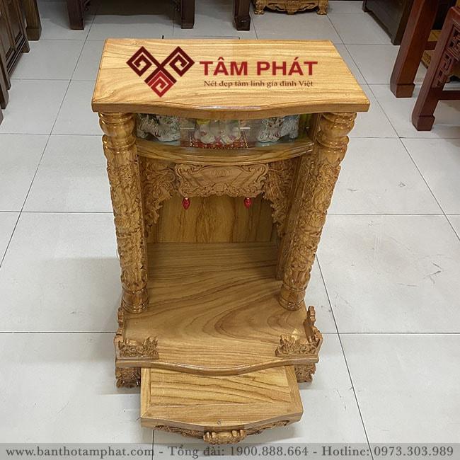 Bàn thờ Thần Tài gỗ tự nhiên sáng màu Tâm Phát