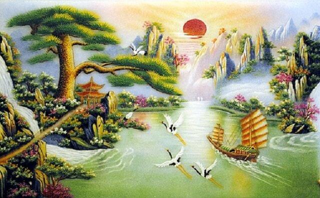 Tranh thờ phong cảnh Tùng hạc diên niên