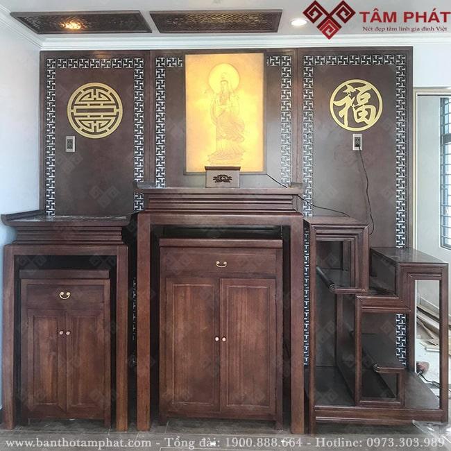 Mẫu Phòng thờ Phật và gia tiên hiện đại BTG-1121
