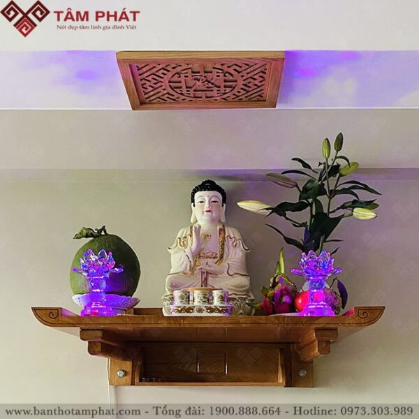 Bàn thờ treo tường thờ Phật làm bằng gỗ Hương Đá