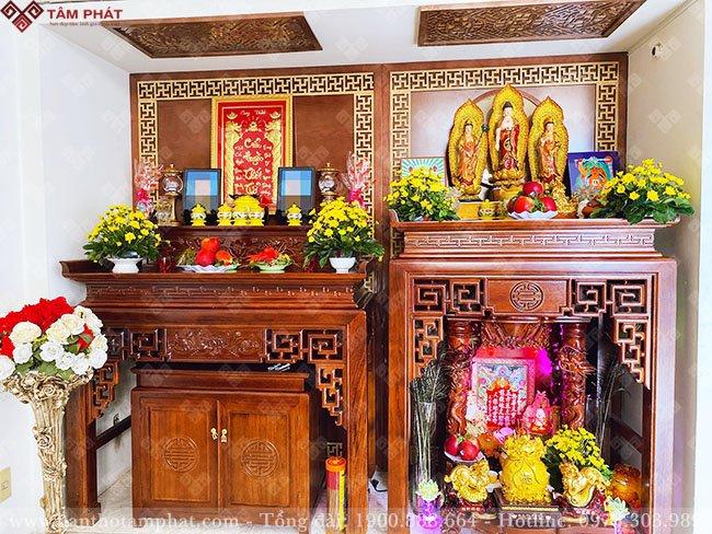 Bố trí 2 bàn thờ trong cùng một không gian thờ sang trọng