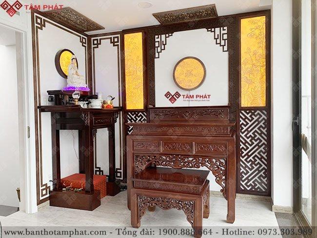 Bàn thờ Phật đơn giản kết hợp bàn thờ gia tiên 2 tầng cổ điển